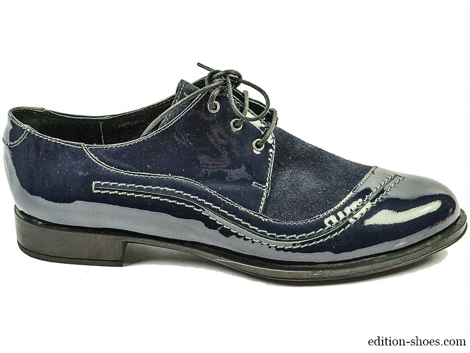 Дамски обувки сини лак и велур 3534