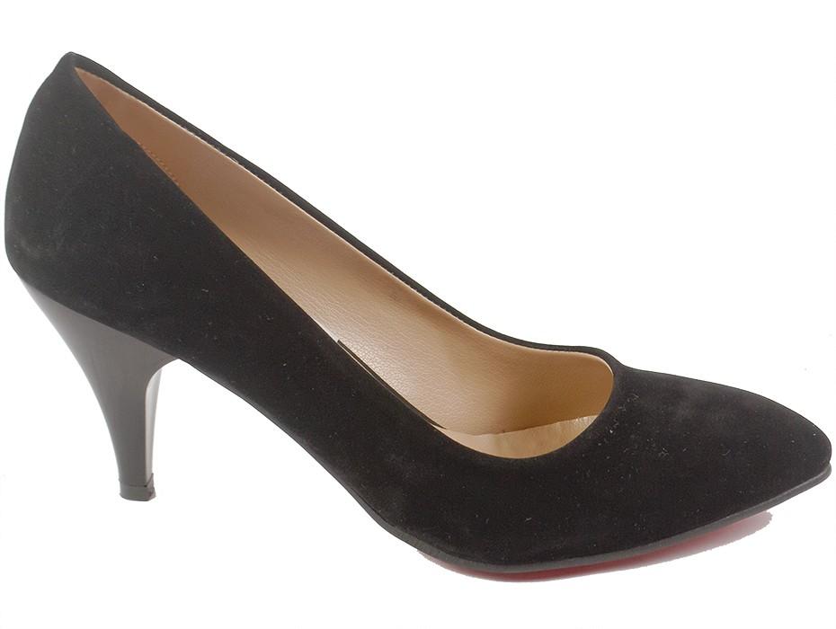 Дамски обувки черни изчистен модел 4921
