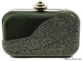 obuvki-Дамска чанта черна с камъни 4252
