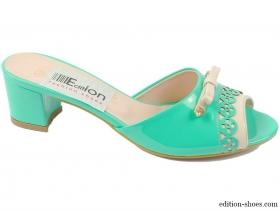 Дамски чехли зелени с панделка 6057