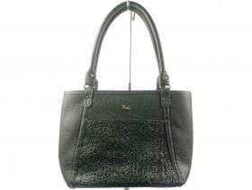 обувки-Дамска чанта черна шагре 6561
