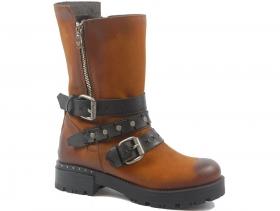 обувки-Дамски ботуши коняк 9199