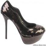 обувки - Дамски обувки черни с пайети 2701