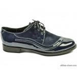 обувки - Дамски обувки сини лак и велур 3534
