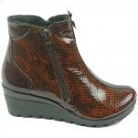 обувки - Дамски боти кафяви на платформа 6392