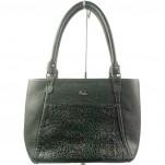 обувки - Дамска чанта черна шагре 6561